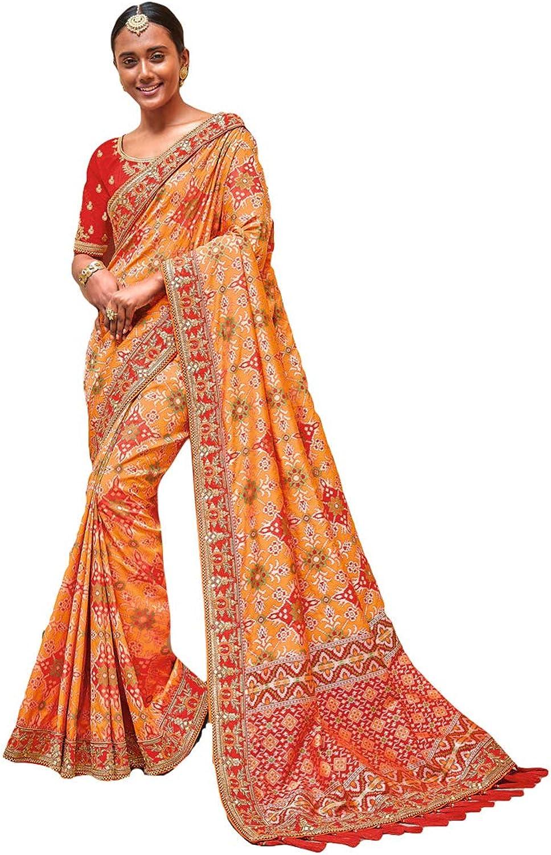 DesiButik's Party Wear Gorgeous orange Silk Saree