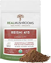 Reishi Mushroom Extract Powder by Real Mushrooms - Certified Organic - Ganoderma Lucidum/Ling Zhi - Immune Booster - 45g Bulk Reishi Mushroom Powder - Perfect for Shakes, Smoothies, Coffee and Tea
