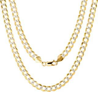 "Unisex 10K Yellow Gold Solid 6mm Pave Diamond Cut Cuban Curb Chain Pendant Necklace, 18""- 30"""