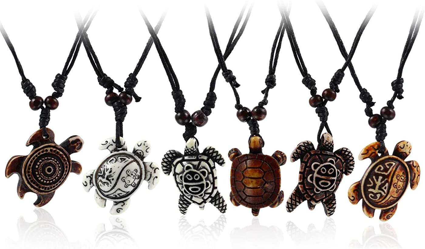 Artificial Bone carving Sea Turtles Pendant Necklaces Gifts for Women Men Adjustable Rope 6/10 Pcs