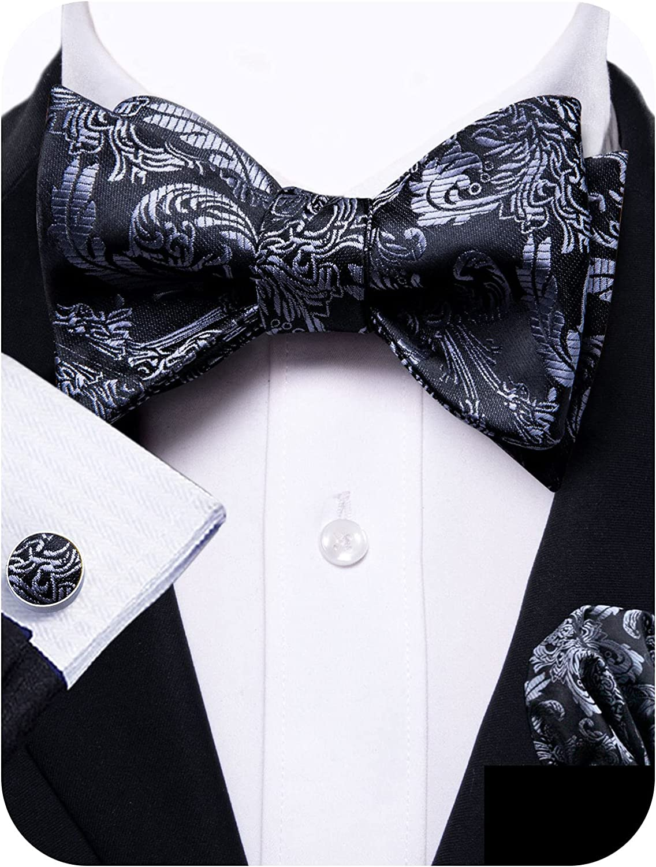 YOHOWA Silk Self Tied Bow Tie and Pocket Square Cufflinks Set for Wedding Party Tuxedo Men/Boys