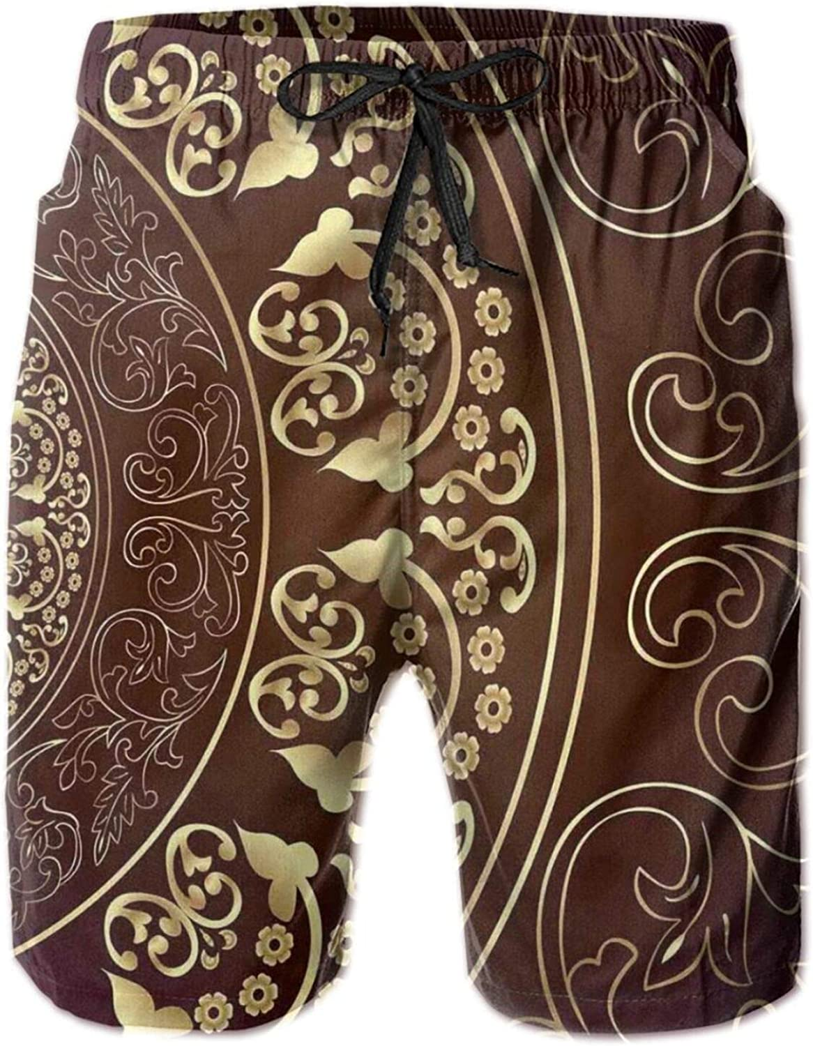 Vintage Ethnic Ancient Cosmos Pattern with Swirled Floral Leaves Artwork Printed Beach Shorts for Men Swim Trucks Mesh Lining,M