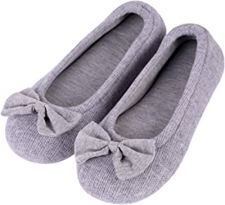 EverFoams Ladies' Comfy Cotton Knit Memory Foam Ballerina Slippers Light Weight Terry Cloth House Shoes
