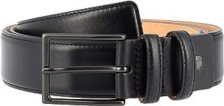 Nuvola Pelle Cintura da Uomo in Pelle Morbida made in Italy Elegante H 34mm con Fibbia in Metallo Nero da 125 cm