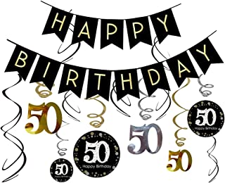 50th Birthday Decorations Kit- Gold Glitter Happy Birthday Banner & Sparkling Celebration 50 Hanging Swirls-50th Anniversary Decorations