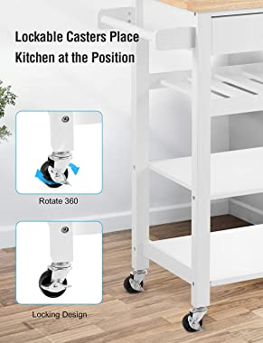 Kealive Kitchen Island on Wheels Rolling Kitchen Island with Storage, Wooden Mobile Island for Home Style, Wood Top Drawer Ha