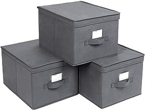SONGMICS Pudełka składane, zestaw 3, pudełka do przechowywania z pokrywkami, pudełka materiałowe z uchwytami na etykiety, ...