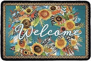 Babrukda Welcome Door Mat Outdoors Indoor Rug Inside Front Non-Slip Low Profile Doormat for Entryway Oil Painting Sunflowe...