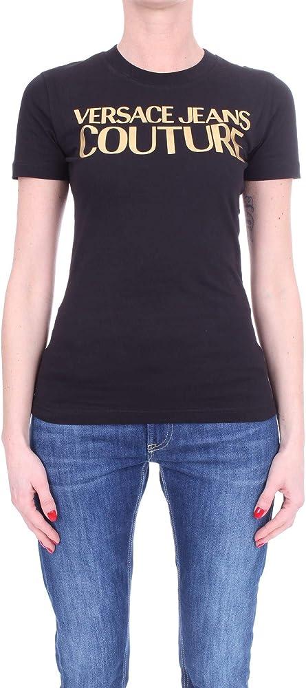 Versace, t-shirt, maglietta da donna, con logo stampato in oro, 100% cotone, maniche corte B2HWA7TB WDP608