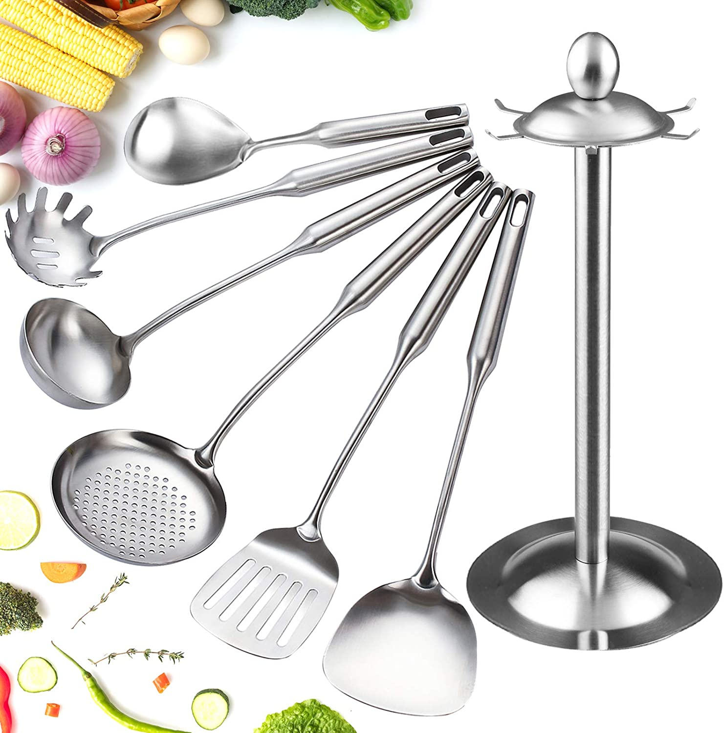 OFFicial shop 18 8 Stainless Steel Max 71% OFF Kitchen Utensil 7 PCS Utensils Set Cooking