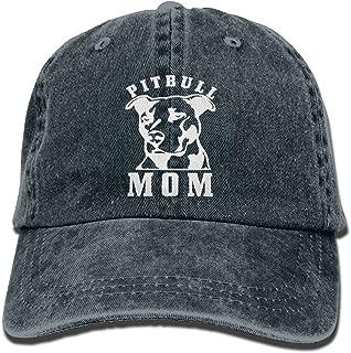 Wangyi Proud Pitbull Mom Hipster Unisex Denim Jeans Adjustable Baseball Hat Hip-Hop Cap Gift for Men Women Navy Blue