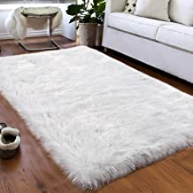 Softlife Faux Fur Sheepskin Area Rug Shaggy Wool Carpet for Bedroom Living Room Home Decor, silver wool faux_leather, Whit...