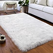 Softlife Faux Fur Sheepskin Area Rugs Shaggy Wool Carpet for Girls Room Bedroom Living Room Home Decor Rug (3ft x 5ft, White with Silver Glitter)