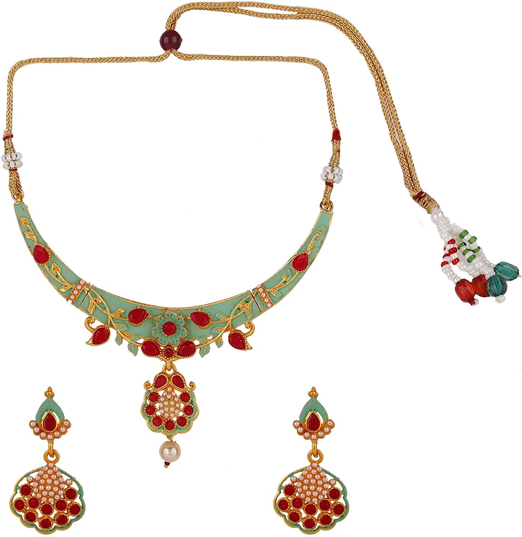 Efulgenz Indian Bollywood 14 K Gold Plated Kundan Faux Pearls Wedding Choker Necklace Earrings Jewelry Set