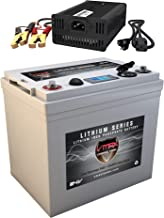 VMAX VPG24C-50LFP for 24 Volt Battery for DC Power Supply 24V 50Ah LiFePo4 Battery + Charger: Lithium-Iron Phosphate Battery w/BMS, USB Outputs, LCD Display (24V 50Ah LiFePo4, Weighs 21lbs)