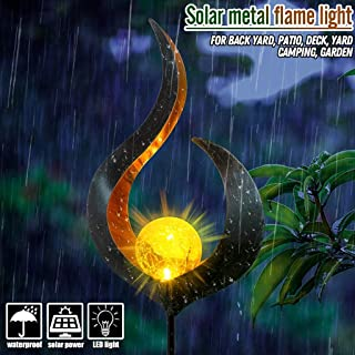 NszzJixo9 Outdoor Solar Garden Stake Lights - Solar Lights Waterproof Dancing Flame Outdoor Lighting Landscape Decoration, Changing LED Solar Decorative