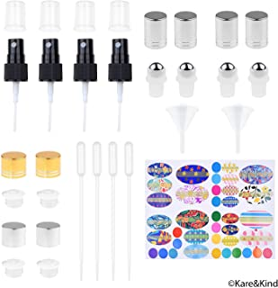 Replacement Caps and Fine Mist Sprayer for Essential Oil Bottles - 4X Fine Mist Sprayer, 4X Sealing Orifice Reducer Caps, 4X Rolling Caps (Essential Oil Bottle Tops)
