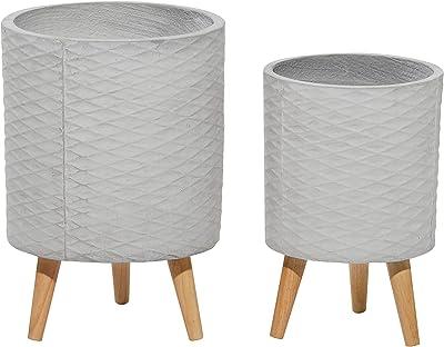 Deco 79 Set of 2 Grey Polystone Contemporary Planter 14, 16 Inches