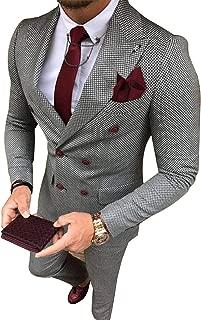 Men's Two-Piece Suit Plaid Double Breasted Smart Formal Wedding Suit