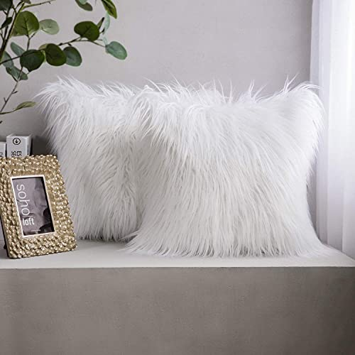 popular Phantoscope Pack of 2 Faux Fur Throw Pillow Covers Cushion Covers Luxury Soft Decorative Pillowcase sale Fuzzy popular Pillow Covers for Bed/Couch,White 18 x 18 Inches online