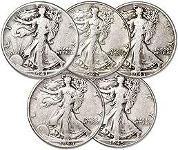 1941 1942 1943 1944 1945 Walking Liberty Silver Half Dollars - 5 Coin Set - 1/2 VG to XF US Mint