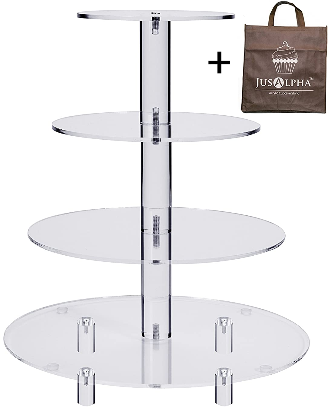 Jusalpha 4 Tier Acrylic Glass Round Cake Stand-cupcake Stand- Dessert Stand-tea Party Serving Platter for Wedding Party With Rod Feet (4RF)