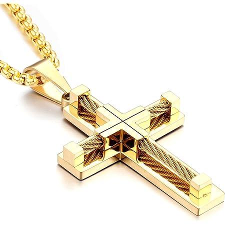 MEN Stainless Steel Black Matte Glitter Finished OVERSIZE JESUS Cross Pendant*28