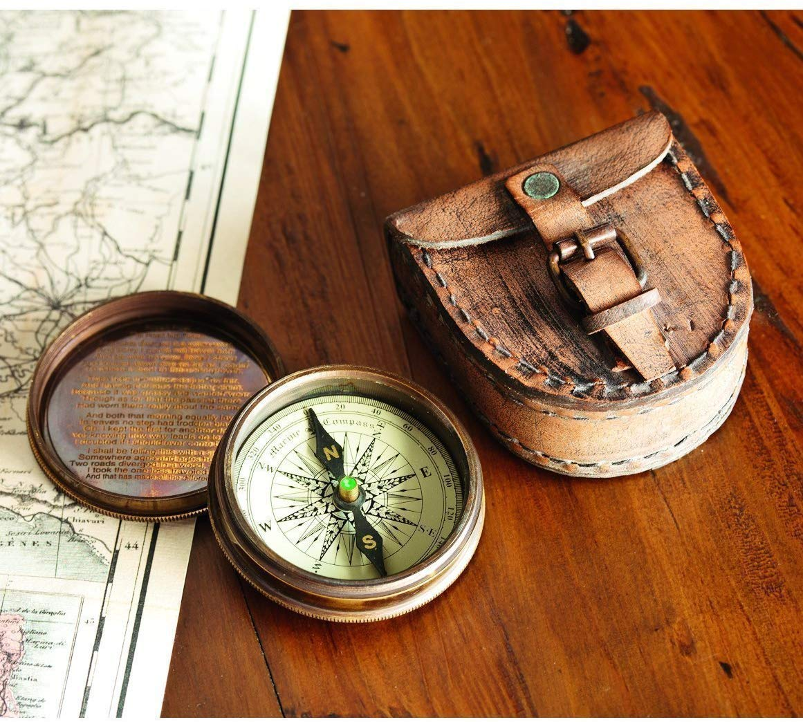 Antiqued Brass Poem Compass Leather