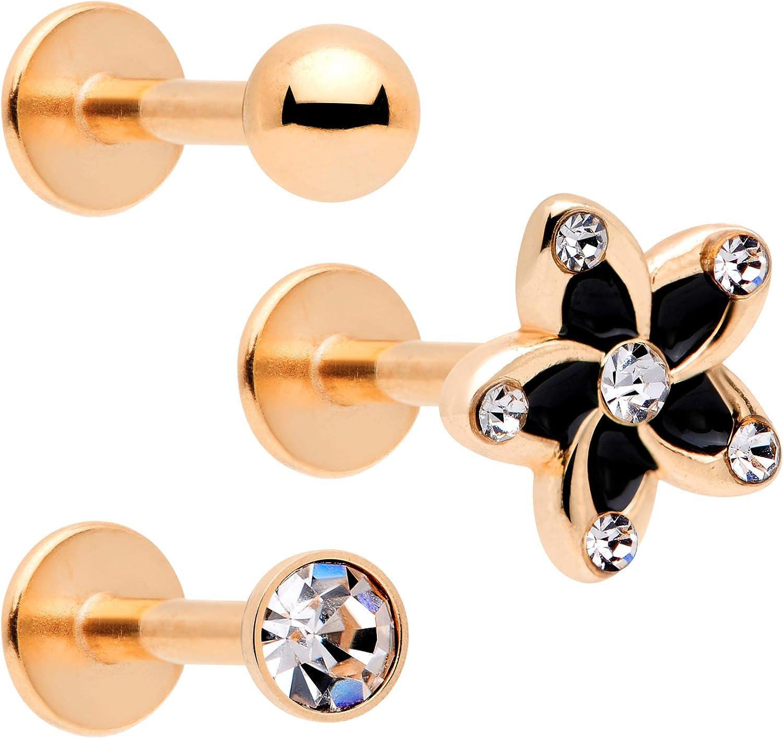 Body Candy 3Pc 16G Lip Ring Stainless Steel Flower Internally Threaded Labret Monroe Tragus Earring