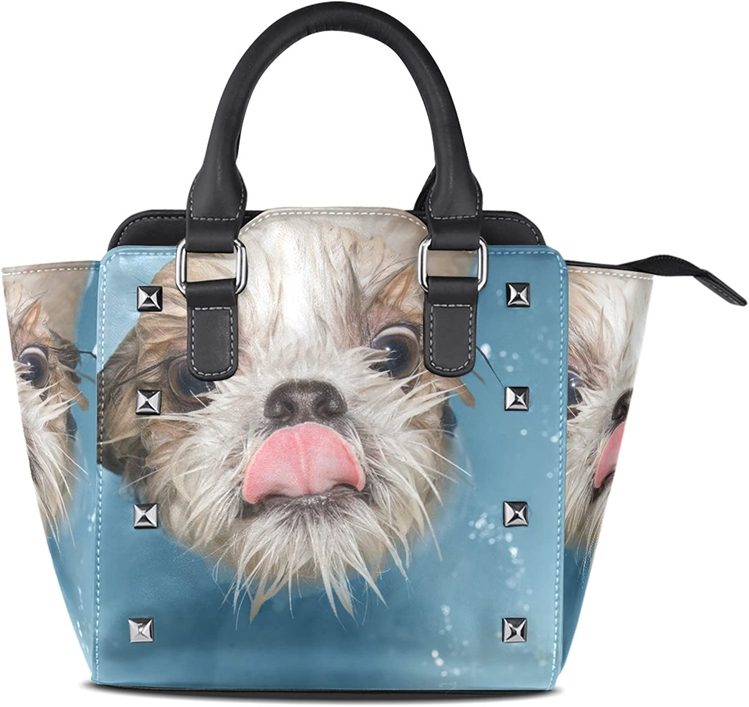 My Little Nest Women's Top Handle Satchel Handbag Cute Wet Dog Ladies PU Leather Shoulder Bag Crossbody Bag