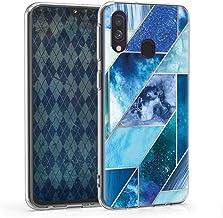 kwmobile Funda Compatible con Samsung Galaxy A40 - Carcasa de TPU y Formas geométricas en Azul/Turquesa/Plata
