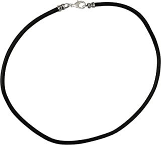 DragonWeave Extra Thick 4mm Wide Black Leather Cord Silver Plated Mens Necklace - Any Length