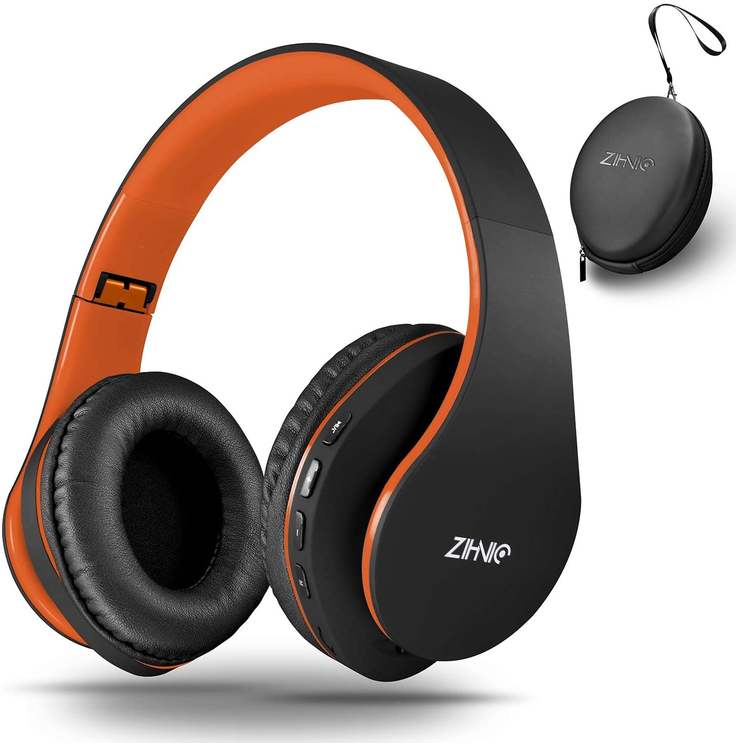 Bluetooth Over-Ear Headphones, Zihnic Foldable Wireless and Wired Stereo Headset Micro SD/TF, FM for Phone/Samsung/Pad/PC/TV,Soft Earmuffs &Light Weight for Prolonged Wearing (Black-Orange)
