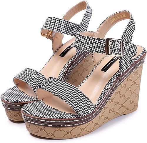 HBDLH Chaussures pour Femmes Summer épais Bas Rétro - Pente Talon évidée Imperméable Tableau Ouvert Toe Boucle étudiant des Sandales.