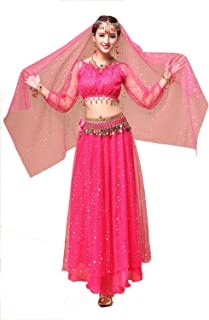 YYCRAFT Women's Halloween Costume Tops Skirt Set with Accessories Belly Dance Performance Outfit 6 Colors