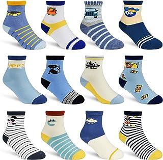 HYCLES, Calcetines tobilleros antideslizantes para niños – 12 pares de calcetines ABS para niños de 3 a 5 años para bebés, niños, niñas, niños pequeños, recién nacidos, monstruos auditivos