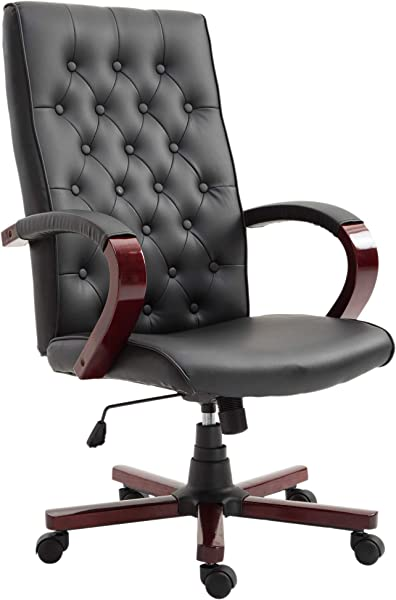 Vinsetto Faux Leather Wooden High Back Executive Home Office Chair Black