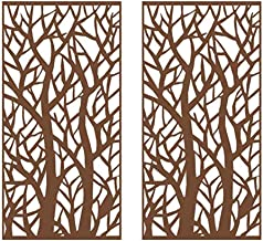 Stratco Decorative Privacy Screen 6' x 3' | Set of 2 Panels | Forest Design with Rustic Look Six Foot by Two Three Lightweight Metal Outdoor Privacy Screens
