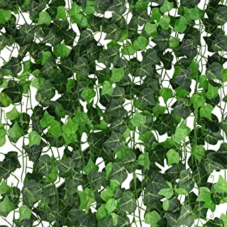 A-Decor 84 ft-12 Pack Artificial Ivy Vine Hanging Garland Fake Foliage Flowers Leaf Plants Home Garden Greenery Life-Like English Poison Ivy Wedding Party Strands Indoor Outdoor Wall Decor, Green
