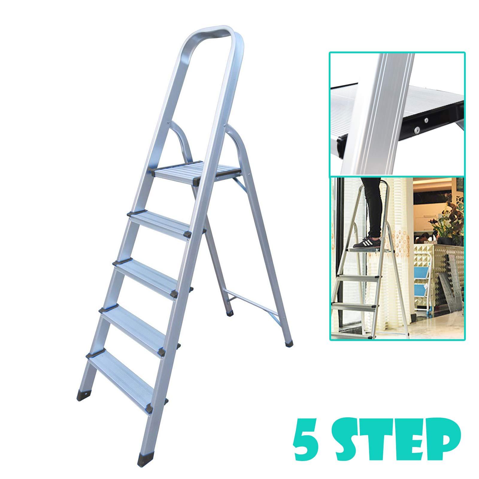 Escalera de aluminio de 5 pasos, ligera, portátil, de seguridad, antideslizante, con peldaños plegables, soporta hasta 150 kg: Amazon.es: Bricolaje y herramientas