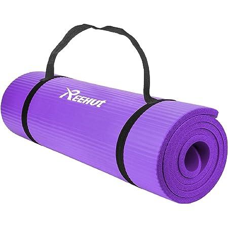 REEHUT Tappetino Yoga Esercizi Antiscivolo Pilates Fitness Allenamento Gomma NBR Espansa Alta Densità Viola con Cinturino 183 cm x 60 cm x 12 mm