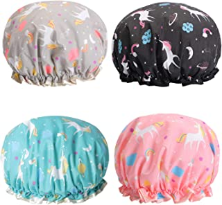 DELFINO Unicorn Shower Caps, Double Layers Bath Hat for Women to Cover Long and Thick Hair, Reusable Waterproof Bonnet 4 Pack