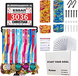 Runeer Medal Holder Hanger Display Rack Frame - Stainless Steel Wall Mount Sturdy Over 24 Medals 50 Race Bibs Easy to Install