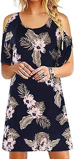 YOINS Vestito Estivo Donna Manica Corta Abiti Eleganti Abito Mini Maglietta T-Shirt con Scollo Rotondo Sciolto Vestiti Donna da Cocktail