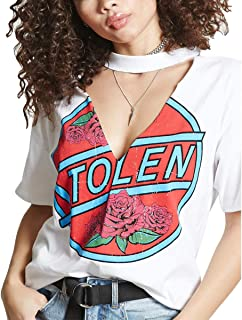 Cut Out V Neck T-Shirt Women Letters Print Short Sleeve Causal Top Graphic Tee