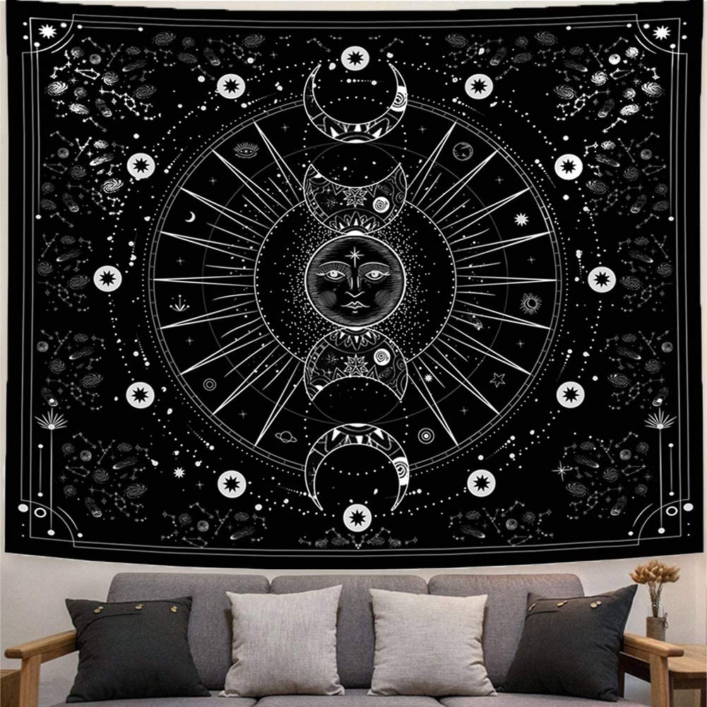 UPAiLGKK Tapestry Sun Moon Wall Hanging Stars Space Psychedelic Black and White Wall Tapestry for Bedroom Aesthetic Home Wall Décor (51.2x59.1 Inches, 130x150 cm)
