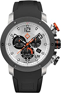 LIV GX1 Swiss Analog Display Chronograph Casual Watch for Men; 45 mm Stainless Steel with Date Calendar; 1000 feet Waterproof - The Panda
