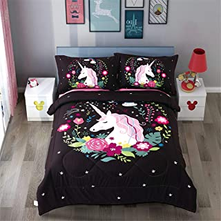 iAsteria Unicorn Comforter Bedding Set,3 Piece Kids Quilted Comforter Cartoon 3D Unicorn Pink Black Bedding,Soft and Breathable for Girls (Black, Twin)