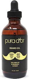 PURA D'OR (4oz) USDA Organic Beard Oil 100% Pure Natural Leave-In Conditioner w/Argan & Jojoba Oil For Beard & Mustache Care & Maintenance - Helps Increase Softness, Strength & Skin Moisture FOR MEN