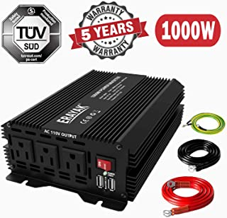 Power Inverter 1000W DC to AC Converter 2000 Watt Peak Inverter for Car with 6.2A Dual USB Ports,TUV Certified